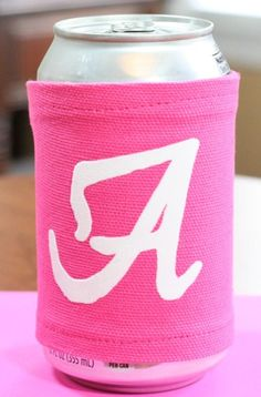 How to use Flocked Iron On Vinyl to personalize a fabric can coozie / cozy.  It's a great way to make party favors or to keep up with your drink - in style!