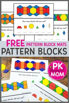 Free printable pattern block mats for preschool. These pattern block activities are great for hands-on learning center ideas for preschool math. via blocks Free Pattern Block Mats Free Preschool, Preschool Printables, Preschool Activities, Preschool Curriculum Free, Preschool Shapes, Geometry Activities, Preschool Programs, Pattern Block Templates, Pattern Blocks