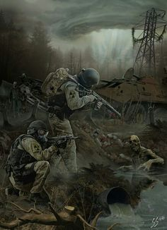 Really like how the guy with the Val has his Bear detector secured to his molle bag. Apocalypse Character, Apocalypse Art, Gas Mask Art, Post Apocalyptic Art, Military Drawings, Zombie Art, Military Art, Cthulhu, Dieselpunk