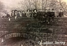 A group of young people posed on Ouzeldon Bridge which was lost along with the village of Ashopton in Derbyshire Old Pictures, Old Photos, Derwent Valley, Duke Of Devonshire, Lost Village, People Poses, First Photograph, Derbyshire, British History