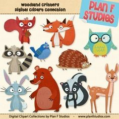 Woodland Rágcsálók Clipart Collection Scrapbooking és Paper Craft Projects