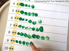 Fingerprint Caterpillar Counting Activity | Preschool Math
