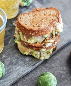 balsamic brussels sprouts grilled cheese sandwich -- My favorite veggie has become brussel sprouts.not sure how I feel about them being in a sandwich. Balsamic Brussel Sprouts, Brussels Sprouts, Ideas Sándwich, Queso Fundido, Vegetarian Recipes, Cooking Recipes, Cooking Tips, Grilled Cheese Recipes, Grilled Food