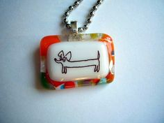Handmade Doxie Fused Glass Necklace, cathystratton