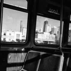 Chicago through an empty train.