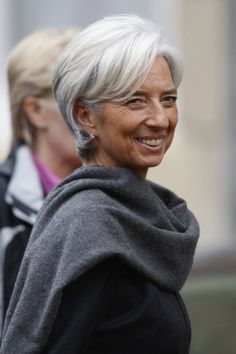 I love silver hair :) Christine Lagarde, French Finance Minister Beautiful Silver, Older Ladies