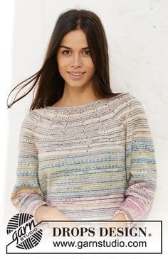 Knitted jumper with round yoke in DROPS Fabel. The piece is worked top down with stripes and ¾-length sleeves. Knitting Patterns Free, Knit Patterns, Free Knitting, Drops Design, Los Kiss, Magazine Drops, Watercolor Sky, Crochet Diagram, Work Tops