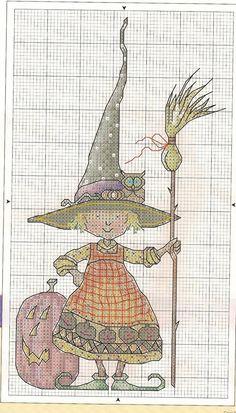 Схема вышивки крестом: Ведьмочка с тыквой