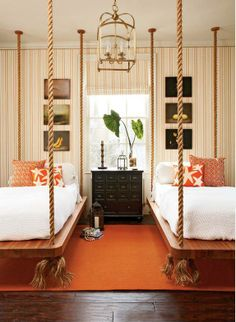 Rope beds.  Grandkids would love beds like this.  I can just see them banging up against the walls.