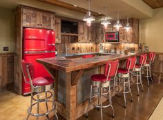 Retro Bar Stools Kitchen Rustic with Barn Board Barnwood Beadboard Knotty Alder Red Accents Red Refrigerator Rustic 1