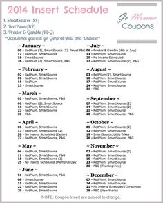 2014 Coupon Insert Schedule