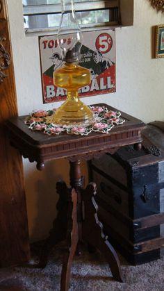 Antique Eastlake Walnut Wood Parlor Lamp Side Table W 4