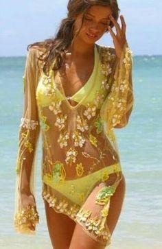 Cute bikini & sheer cover up