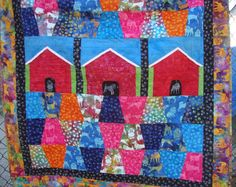 Doghouse Dogs Batik Lap Baby Quilt Patchwork Toddler Quilt by MaryMackMadeMine on Etsy
