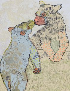 Print of an Original Ink Drawing Bear Kiss by matea sinkovec