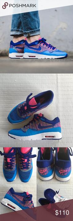 Women's Nike Air Max 1 Ultra Flyknit Sneakers Women's Nike Air Max 1 Ultra Flyknit Sneakers Style/Color: 843387-400  • Women's size 7  • NEW in box (no lid) • No trades •100% authentic Nike Shoes Sneakers