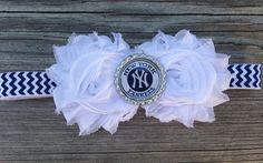 Yankees baby headband New York Yankees baby by MiaBellaBands