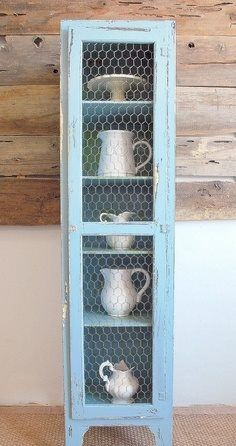 cabinet reno with chicken wire doors via Fife Christensen Khoundet of Sweet Pickins. -- Wilsson Stordahl, maybe a use for that chicken wire? Furniture Projects, Furniture Makeover, Wood Projects, Diy Furniture, Furniture Design, Country Decor, Rustic Decor, Farmhouse Decor, Farmhouse Furniture