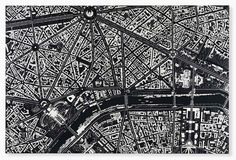 damien hirst composes black scalpel cityscapes from surgical tools