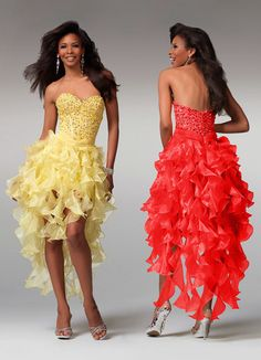 Clarisse prom dresses 1519 - Yellow short formal dress with ruffle skirt | Promgirl.net