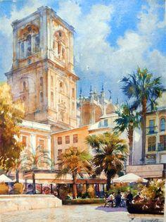 Geoffrey Wynne Acuarelas - Watercolours: PLAZA DE LA ROMANILLA, GRANADA- ROMANILLA SQUARE, GRENADE