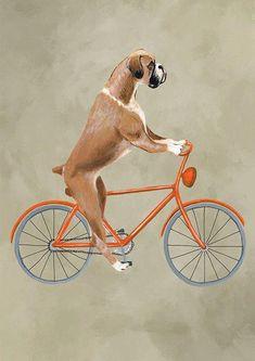 Woodland Boxer Print, Boxer Illustration Art Poster Acrylic Painting Kids Decor Drawing Gift, Dog on bicycle, bicycle print, boxer dog Painting For Kids, Painting Prints, Paintings, Boxers, Bicycle Painting, Bicycle Print, Boxer Puppies, Boxer Rescue, Boxer Love