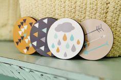 Wooden Fridge Magnet  Scandinavian design  by GalaStudio on Etsy