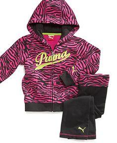 Puma Kids Set, Little Girls Zebra Hoodie & Pants - Kids Girls 2-6X - Macy's