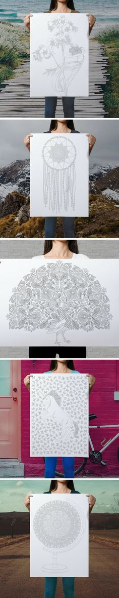How lovely are these coloring posters?! The dreacatcher and the peacock would make a great addition to a boho inspired bedroom! And the unicorn - just perfect for a little girls room! :)