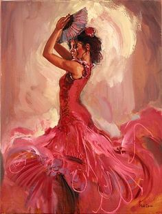 Mark Spain - Flamenco Passion IV - In love with this Spanish Dancer, Spanish Art, Spanish Woman, Woman Painting, Painting & Drawing, Dancer Drawing, Creation Art, Dance Paintings, Beautiful Paintings