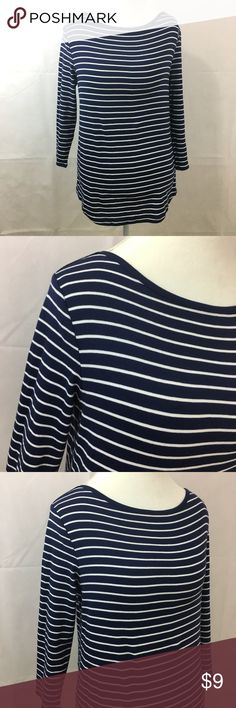 "Boat Neck Top Navy Blue/White Stripes Size XL Faded Glory Striped Boat Neck Top Navy Blue/White Size XL   Striped Boat Neck Top   Navy Blue/White   Excellent condition - never wore this (no tags)  Size XL  3/4 Sleeves  Bust -  19"" from underarm to underarm  Length 25""  Sleeves. 19""  60% Cotton 40% Polyester Faded Glory Tops"
