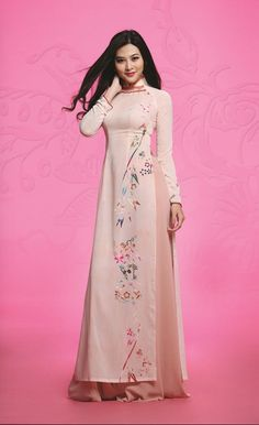 Simple Ao Dai with details at the neck