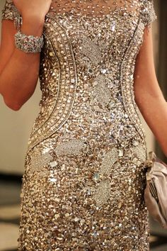 embellished gold couture gown