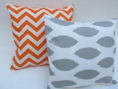 Orange Chevron & Gray Modern Decorative Pillow set by Pillomatic, $32.00