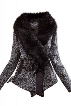 Fur Collar Long Sleeve Tweed Winter Coat