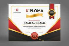 Black and red diploma certificate with ribbon Free Vector Free Certificate Maker, Blank Certificate Template, Free Printable Gift Certificates, Certificate Of Participation Template, Graduation Certificate Template, Free Gift Certificate Template, Certificate Of Completion Template, Gift Card Template, Award Templates Free
