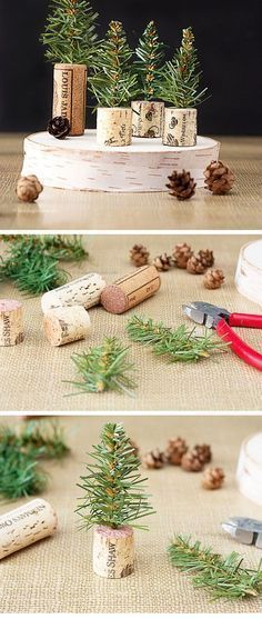 Kersttafereeltje met takjes, kurken en dennenappels.