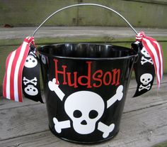 Personalized Halloween buckets-many designs available Diy Halloween Buckets, Halloween Food Crafts, Halloween Vinyl, Homemade Halloween Decorations, Pirate Halloween, Halloween Silhouettes, Halloween Bags, Halloween Items, Pirate Party