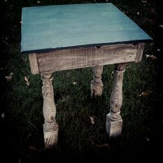 Turquoise and White crackled and distressed table.. I found these table legs at an estate sale ,looked in my wood pile cut the side pieces of the table out then got a new piece of wood for the top ,painted it white , put a crackle over that,made a mixture of turquoise paint then sealed the top with a matt sealer. Putting it on the porch of my art studio and sitting a pretty plant on it ...