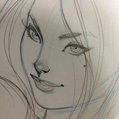 Abbey Chase (aka Danger Girl) - J Scott Campbell Face Sketch, Girl Sketch, Doodle Sketch, Sketch Drawing, Drawing Art, Danger Girl, J Scott Campbell, Comic Book Layout, Comic Books Art