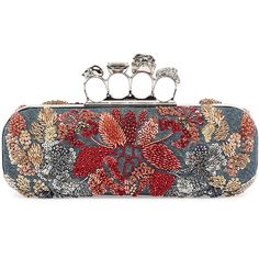 Alexander McQueen Knuckle Duster Denim Box Clutch Bag w/Floral... (15,470 MYR) ❤ liked on Polyvore featuring bags, handbags, clutches, denim multi, skull purse, alexander mcqueen purse, skull handbag, brass knuckle purse and beaded purse