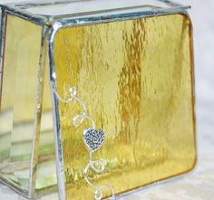 Brilliant Yellow 3x3 Stained Glass Jewelry Box w/ Pewter Scrolled Heart Bead Handmade @Kelly