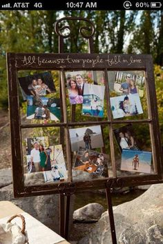 """Old Window ~ """"All because two people fell in love"""" ~ Great for gift to parents/grandparents, anniversary party, family reunion, etc."""