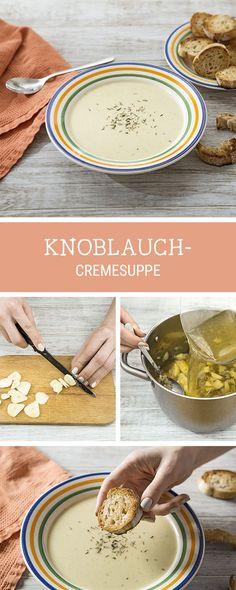 Suppenklassiker: Rezept für eine herzhafte Knoblauch-Cremesuppe / savory recipes: creamy soup with garlic via DaWanda.com