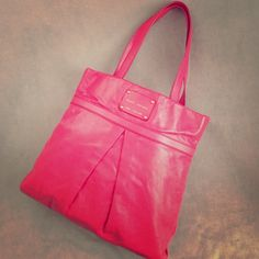 """Marc Jacobs Palais Royal Harper Tote Pink Excellent condition - glazed leather has worn in to a silky texture. A few light scuffs and slight fading at the bottom corners. Edge paint is cracking, but otherwise very little wear on the straps. Please see other post with additional photos prior to purchasing. Approx. 15.5"""" long x 15"""" tall x 1.5"""" deep with 9"""" strap drop. Gold/brass hardware. Marc Jacobs Bags Totes"""