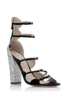 Glitter Block Heel Sandal by GIAMBATTISTA VALLI for Preorder on Moda Operandi