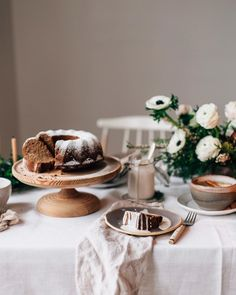 winter gathering with date bundt cake and hot apple cider