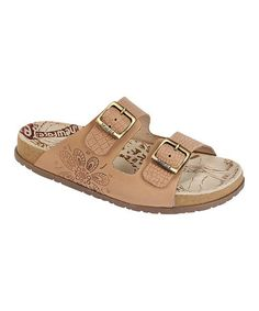 Love this Taupe Cariva Floral Leather Sandal - Women on #zulily! #zulilyfinds
