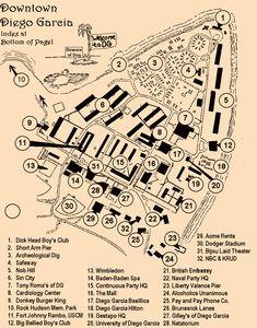 """Ein Plan der """"Downtown"""" auf Diego Garcia. Unterkünfte und öffentliche Einrichtung für die Militär-Angehörigen. Diego Garcia, Beware Of Dog, Planer, Patches, Navy, Hale Navy, Old Navy, Navy Blue"""