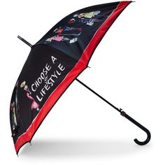 Moschino Life in Style Umbrella ($50) ❤ liked on Polyvore featuring accessories, white and moschino